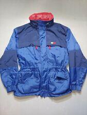 Mens Tommy Hilfiger Fleece Lined Red Blue Zip Up Jacket Size Medium vintage hype