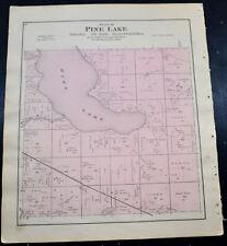 1884 OTTER TAIL COUNTY MAP MINNESOTA Pine Lake and Otto Townships Rush Lake