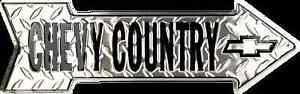 """CHEVY COUNTRY EMBOSSED DIAMOND 20"""" x 6"""" METAL ARROW SIGN CHEVROLET GM GARAGE"""
