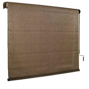 Outdoor Solar Shade Exterior Roll Up Crank Curtain Window Screen Treatment Blind