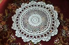 Vintage Style Pretty Floral Hand Crochet White Cotton Round Doily 30Cm