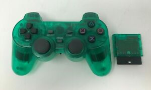 Transparent Green Clear Wireless Rumble Controller for Sony PlayStation 2 PS2