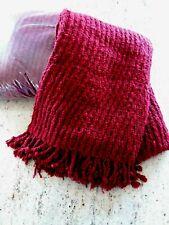 "2 Pottery Barn Dark Red Throw Blanket Chunky Knit Fringe  72"" X 45"" EUC"