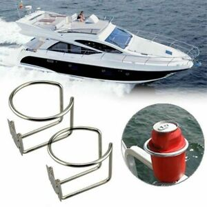 2Pcs Stainless Steel Cup Holder Drink Bottle Ring For Boat Marine Yacht Caravan