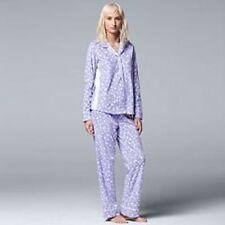 Women's Vera Wang Long Sleeve Micro Fleece Pajamas Set, Purple Size XXL - New!!