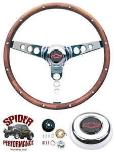 "88-94 Suburban Chevy pickup steering wheel RED BOWTIE 13 1/2"" CLASSIC WALNUT"