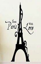 FROM PARIS WITH LOVE Girls Bedroom Decor Wall Art Decal Words Lettering