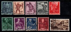 Switzerland 1941 Mi. 377-385,386 Used 100% History, horses