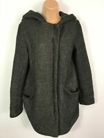 WOMENS NEW LOOK BLACK & WHITE PATTERNED ZIP UP COAT JACKET WITH HOOD SIZE UK  10