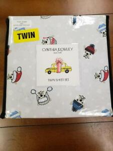 NWT Cynthia Rowley French Bulldogs Winter Hats Christmas Twin Sheet Set