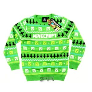 Primark boys/Kids official MINECRAFT Creeper Knitted Christmas jumper New 7-15yr