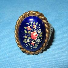Victorian 14k Gold Handpainted Porcelain Mourning Ring Hair Jewelry