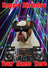 Bulldog Dog j511 Clubbing Cool DJ Fun Cute A5 Personalised Birthday card