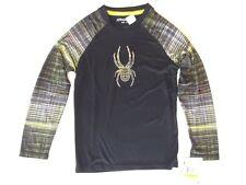Boys Spyder Linear Dry Web Crew Neck Top Shirt Baselayer Black Acid Size XL