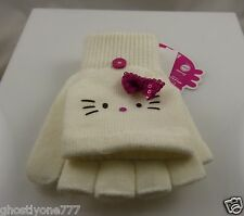 Hello Kitty sanrio off white and pink fingerless gloves converts to mittens