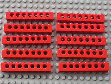 LEGO TECHNIC 10 red bricks  with holes 1 x 8 ref 3702 / 8872 9684 9701 855 955