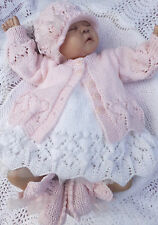 KNITTING PATTERN TO MAKE **VALENTINA** GORGEOUS MATINEE SETS FOR BABY OR REBORN