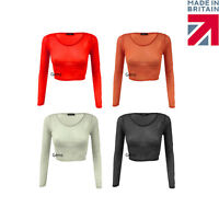 New Womens Crop Top Ladies All Mesh Long Sleeve Stretch Vest T Shirt Sizes 6-12
