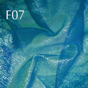 F07 PER YARD Teal Blue wLime reflex Shiny Iridescent Ruffle Sheer Organza Fabric