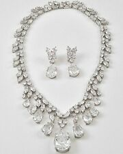 Bridal Jewelry CZ Cubic Zirconia Silver Necklace & Earring Set Statement BB11JS