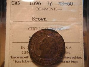 1896 Large One Cent ***** Conservative ICCS MS-60