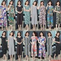 2/PCS Sets Women Floral Casual Career Boho Tassels Blouse Top Trousers Boho Suit