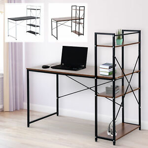 Computer Desk PC Workstation Laptop Table w/4-tier Open Bookshelf Home Office