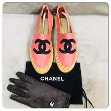 CHANEL18C Black CC Logo Cap Toe Pink Espadrille Flat Shoes Size 39