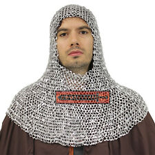 Medieval Chainmail Coif Light Weight Armor Aluminum Knight Metal Hood Helm