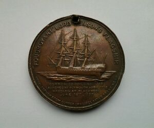 Lord Nelson's Flagship 'Foudroyant' 1897 Wreck Copper Medal Coin - with hole