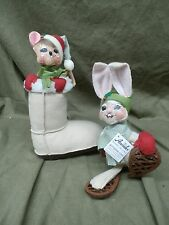 "Annalee ~ 6"" ALPINE MOUSE IN SNOWBOOT 600713 & 6"" SNOWSHOE HARE 752113 Lot"
