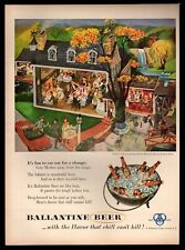 Original 1953 Ballantine Beer Dining Out Painted by Frederick Siebel Print Ad