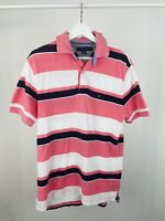 Vintage Men's Tommy Hilfiger Short Sleeve Striped Pink Polo Shirt Small
