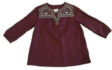 Old navy boho floral peasant XS Extra Small Blouse New  Long Sleeve Maroon