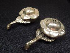 Vintage Occupied Japan Rose Silver Plated Salt & Pepper Shaker Set