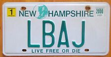 New Hampshire 2000 VANITY License Plate LBAJ