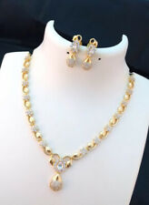Indian Pakistani Bollywood American Diamond Necklace White Gold Tone Party Wear