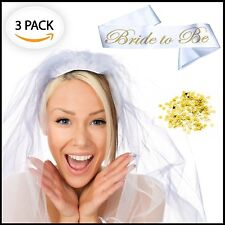 Bride to be Sash, Bridal Veil and Gold Confetti - Set of 3 - Perfect Bridal