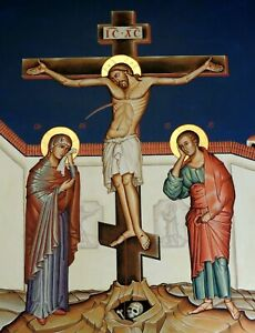 Crucifixion of Jesus Christ Picture Icon Style Religious Print
