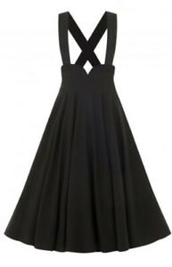 Bnwot Collectif Mary Black 50s Swing Braces Dungaree Suspended Skirt Size 14 £57