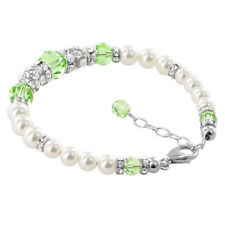 """925 Silver Pearls 7 to 8.5"""" Bracelet with Swarovski Elements Green Crystal"""