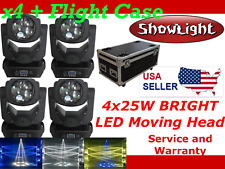 4pcs ShowLight Super BEAM 100W (4x25W) LED Moving Head with QUAD FLIGHT CASE