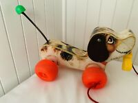 Vintage Fisher Price Little Snoopy Dog Pull Along Toy 1970s / 1980s