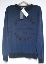 Tommy Hilfiger Logo Pull en Bleu TAILLE M, NEUF, avec ÉTIQUETTE