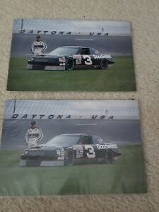 """LOT OF 2 Nascar DALE EARNHARDT 1990 Chevy Lumina 9"""" X 6"""" PICTURES w Stats Back"""