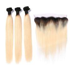 "7A Brazilian Silky Straight #613 Blonde 24"", 26"", 28"" Bundles w/ 18"" Frontal"