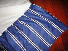 "ROSE TREE PALLASBOS BLUE & CREAM STRIPE KING BEDSKIRT 18"" DROP SPLIT CORNER"