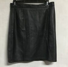 Crazy Horse Womens 100% Leather Black Skirt Size 12P In Great Condition