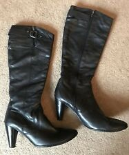 Black Leather Knee High Boots High Heeled Uk Size 8 EUR 41