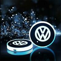 2PCS LED Car Cup Bottle Holder Mat for VW Auto Interior Atmosphere Volkswagen